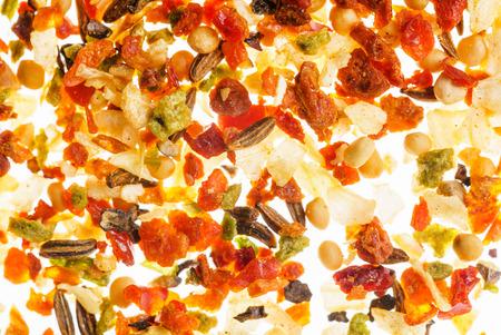 Spice achtergrond op de witte Stockfoto