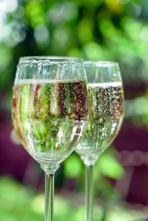グラスにシャンパン 写真素材