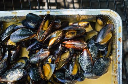 ムール貝のハーブのグリル 写真素材