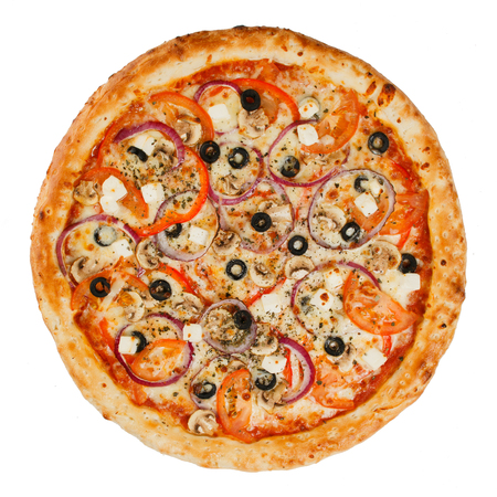 pizza isolated on the white Stock Photo