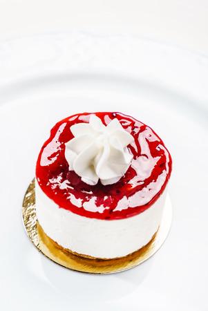 strawberry cheesecake on white Stock Photo