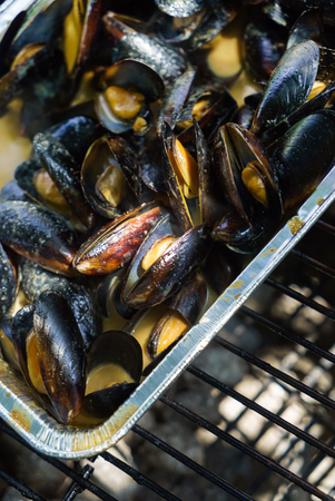 grilled mussels with herbs