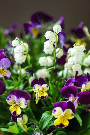 꽃병에 봄 꽃다발