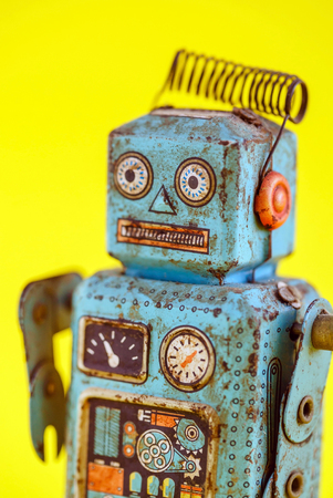 A vintage wind up toy robot Stock Photo