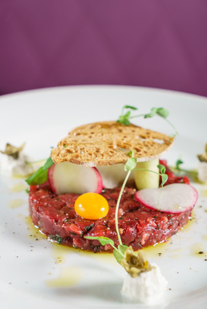 beef tartar with egg Stock Photo