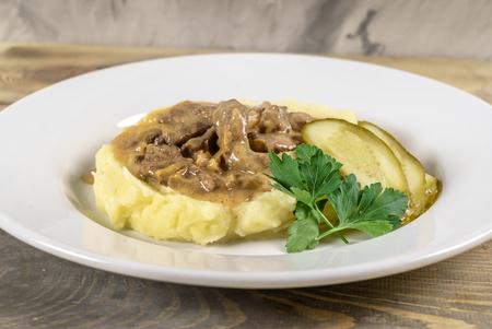 pork with mashed potato