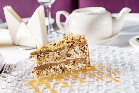 caramel cake in the restaurant