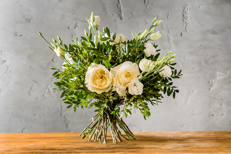 nice bouquet on wood board Stock Photo