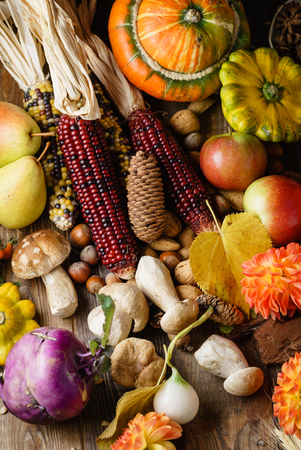 autumn harvest on wooden background