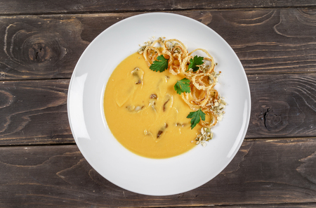 cream soup with fried onion
