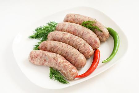 raw sausages Banco de Imagens