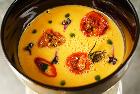 pumpkin soup with roasted tomatoes