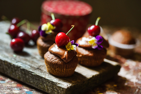 cherry cupcakes with chocolate cream