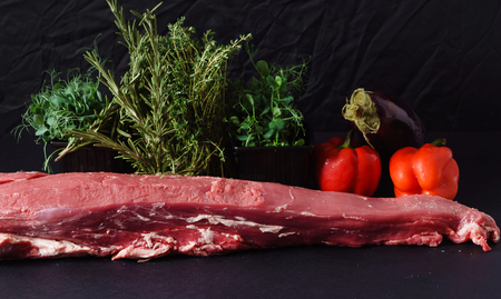 raw meat with herbs