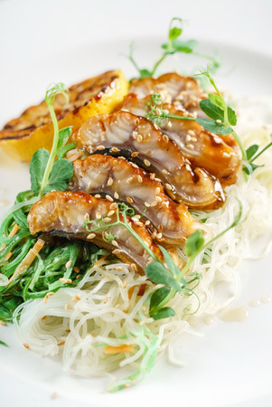 duck with noodles Фото со стока
