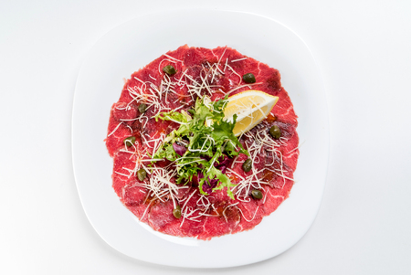 beef carpaccio on white 写真素材