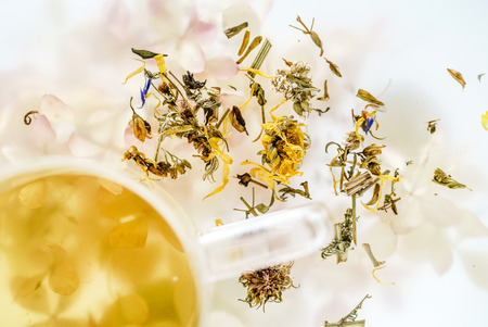 herbal tea in glass cup Stock Photo