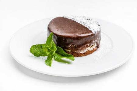 chocolate cake with mint Фото со стока