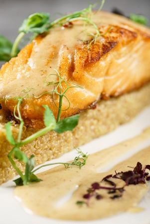 salmon steak with quinoa 写真素材