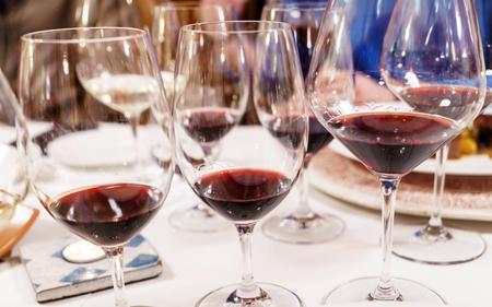 wine tasting in the restaurant Stok Fotoğraf