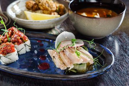 lunch in japanese restaurant Stock Photo