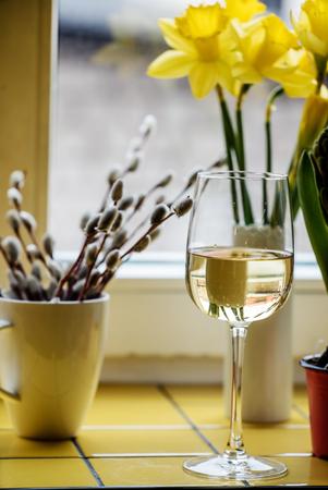 white wine in flute