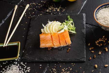 salmon sashimi with salad