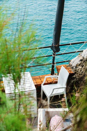 outdoor cafe near sea 写真素材