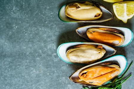 steamed sea mussels Archivio Fotografico - 99421778