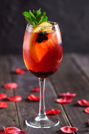 summer cocktail with berries