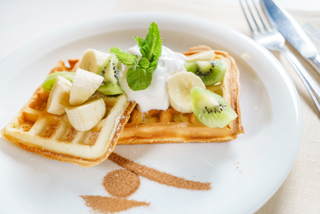 waffle with whipped cream