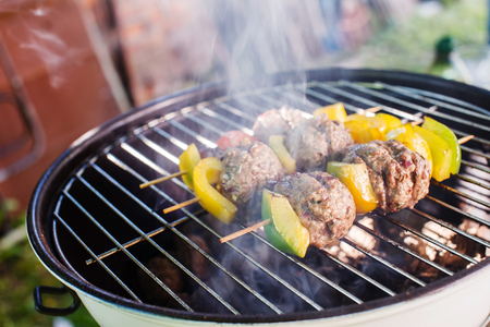 grilled meatballs with vegetables Stock Photo