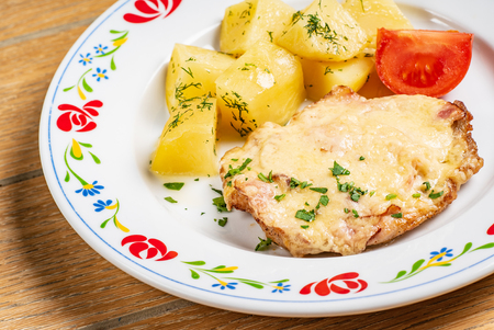 roasted pork with potatoes Imagens