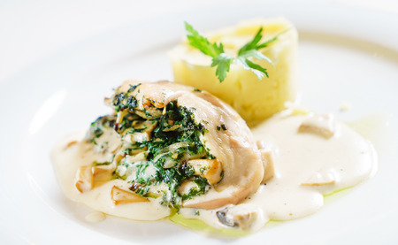 stuffed chicken with mashed potato