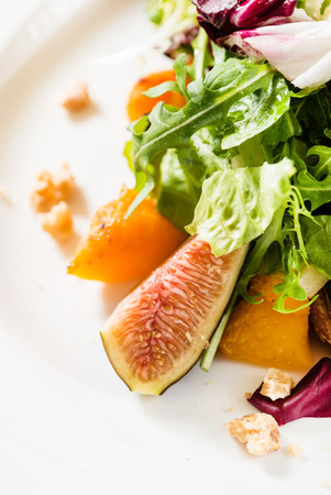 fresh salad with fig and persimmon