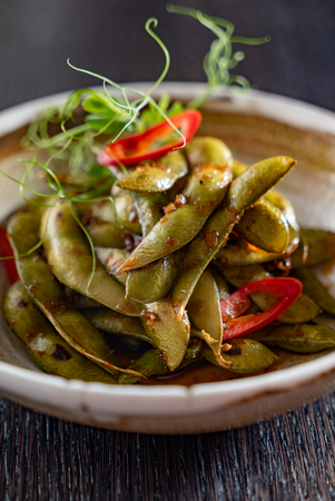 Steamed Edamame Bean (Green Soybean) , East Asian Cuisine, Archivio Fotografico - 100800802