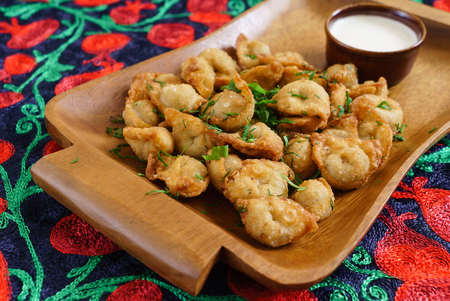 fried dumplings with sour cream