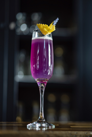 lavender cocktail in the bar