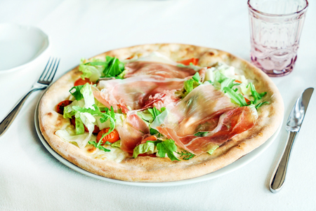 italian pizza in the restaurant Stock Photo