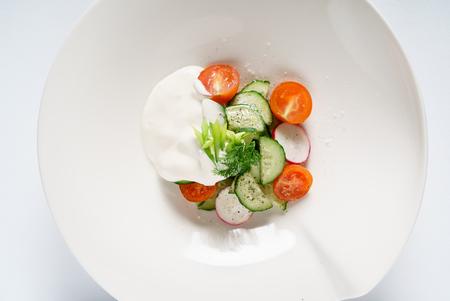 fresh salad with sour cream 写真素材