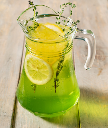summer lemonade with fruits Stock Photo