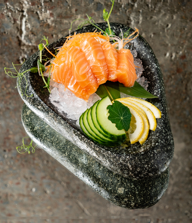 salmon sashimi on ice Stok Fotoğraf