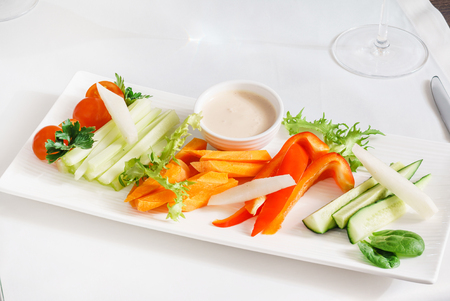 fresh vegetables with sauce