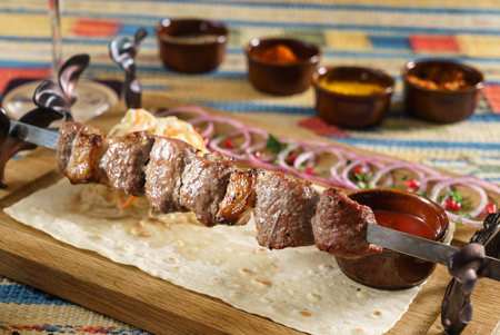 grilled kebab with sauce Stock Photo