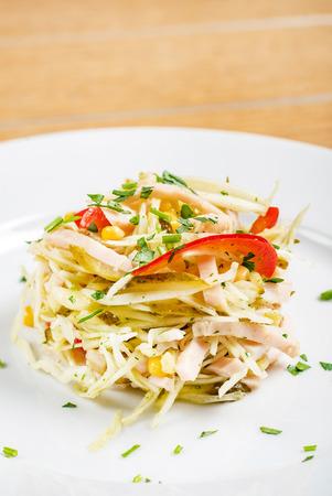 salad with ham 写真素材