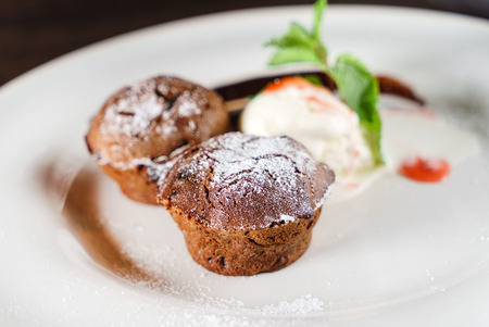 chocolate muffins with ice cream