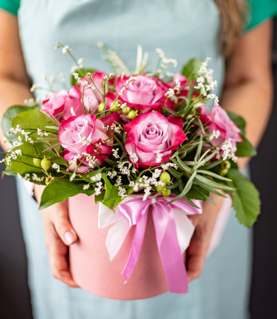 nice flowers in the hands Stock Photo