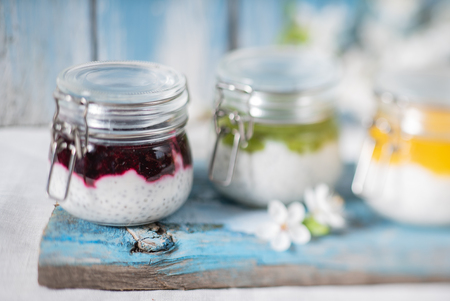 fit dessert with chia seeds Stock Photo
