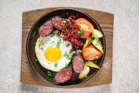 breakfast with blood sausage