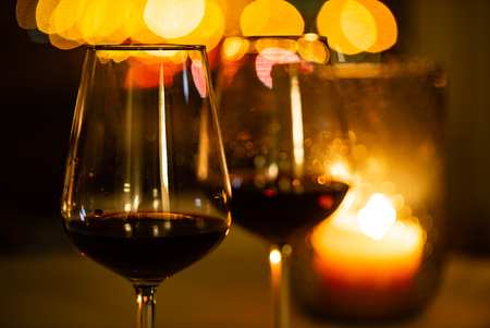 red wine and candles Stock Photo